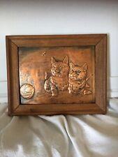 Vintage COPPER Metal Art 9.5 x8 Hammered Signed C. MAGEE -OLD Wood Frame-KITTENS