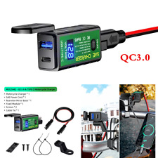 QC3.0 USB Type-C Charger Voltmeter ON/Off Switch Motorcycle Handlebar Mounting