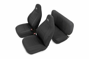 Rough Country For Jeep Neoprene Seat Cover Set | Black [97-02 Wrangler TJ]