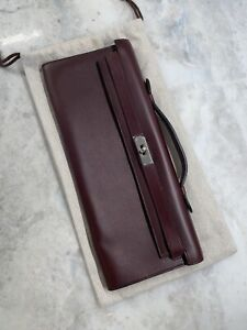 "Hermes Kelly Cut Clutch Bag Rare  ""D 4.S"". Deep Burgundy Color"