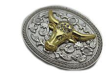 New Men Women Belt Buckle Western Cowboy Silver Gold Bull Texas Horn Cow Bead