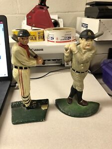 2 Vintage Cast Iron Baseball Batters Ty Cobb Babe Ruth Door stop Book ends