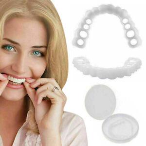 Smile Snap On Upper Bottom False Teeth Veneers Dental Dentures Tooth Cover Set^