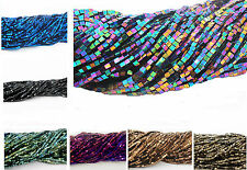 180~200pcs Natural Gemstone Hematite Gemstone Faceted Spacer Cube Beads 2mm