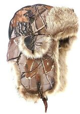 JUNGLE  HUNTING TREE LEAF NEW CAMO TRAPPER HAT FAUX FUR WARM LINED THERMAL STYLE