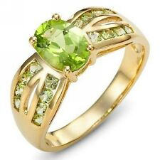 Delicate Jewelry Size 8 Peridot Bridal 18K Gold Filled Engagement Ring For Women