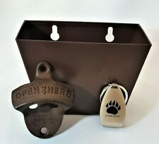 NEW BEER BOTTLE OPENER Wall Mount w/ Box Cap Catcher FREE SHIPPING & Key-Chain