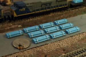 10 Stacks of Banded PIPES, NICE Loads N Scale Lt Blue