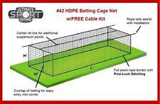 12' x 14' x 70' #42 (#60ply) Baseball Softball Batting Cage Nets Free Cable Kit