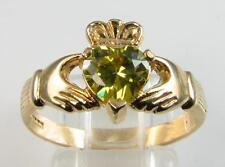 9K GOLD 9CT GOLD CLADDAGH PERIDOT HEART RING FREE RESIZE