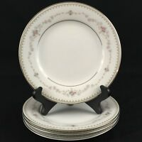 "Set of 4 VTG Bread Plates 6 1/4"" Noritake Fairmont 6102 Pink Roses Floral Japan"