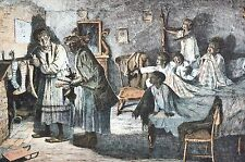 Black Americana 1888 FILLING CHRISTMAS STOCKINGS Children Matted Cartoon Print