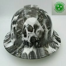 Hard Hat FULL BRIM custom hydro dipped , OSHA approved MELTING SKULLS NEW