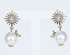 NEW Bee Flower Pearl & Crystal Rhinestone Vintage Gucci Style  Drop Earrings