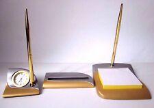 Classy-Exclusive Desk Top Office Gift Set-Clock-Memo Pad-Card Holder-2 x Pens GL