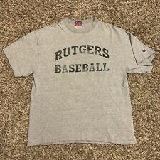 Vintage Champion Rutgers Baseball Grey & Black College T Shirt Size Medium