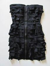 NWT BCBG MaxAzria Brandie in Black Satin Tiered Strapless Zip Front Dress 2 $368