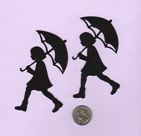 "Girl with Umbrella Silhouette Die Cuts, Choose 4"" (2 die cuts or 8"" (1 die cut)"