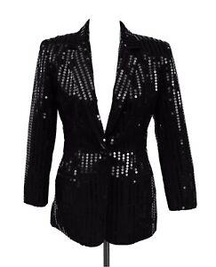 Cache Vintage 90's Black Sequin Sz 4 Tuxedo Woman Blazer