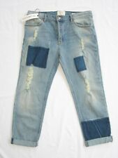 Revice Bae Boy Friend Button Fly Patched Trucker Wash Jeans Size 32