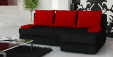 Corner Sofa Bed MONICA | Right Storage Soft Fabric | Black Red | sqzaathome09