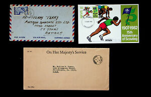 NEVIS SCOUTING MAXIM CARD+QE  1v A/M COVER TO ANTIGUA+ONHMS COVER TO USA