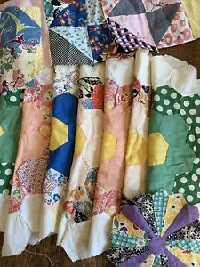 Vintage  Quilt Pieces - flour feed sack material - Assorted Lot Cutter