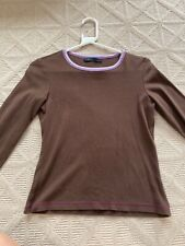Boden Caramel Brown & Long Sleeve Cotton Top Size Small