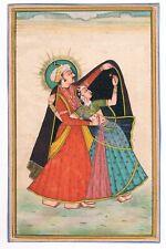 Fatto a Mano Miniatura Dipinto di Indiano King e Queen Etnico Folk Art su Carta