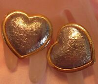 Vintage Textured Gold & Silver Tone Heart Clip On Back Earrings P204