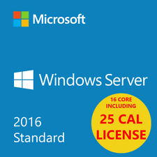 MSFT Window Server 2016 Standard Edition x64 64 bit 16 cores | 2CPU w/25 CAL