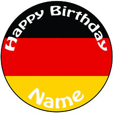 """Personalised Birthday German Flag Round 8"""" Easy Precut Icing Cake Topper"""