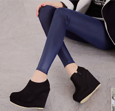 Womens Side Zip Ankle Boots Suede Platform Round Toe Wedge High Heels Warm Shoes