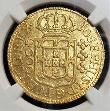 "Brazil: Jose I gold ""Small Crown"" 4000 Reis 1775-(L) AU55 NGC."