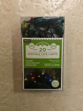 Holiday Time 20 Counts Invisible Tape Multicolor Lights Green Wire 7.87 FT Long