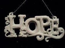 """KSA """"RESIN WHITE WORD ORNAMENT ~HOPE"""" ~ Glittery ~ New"""
