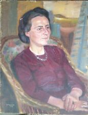 ::ERNST HUMMEL *1898 -1961 PORTRAIT AT DECO DAME FRAU IM SALON SIGNIERT ANTIK ÖL