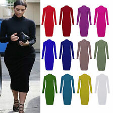 Unbranded Viscose Polo Neck/Roll Neck Midi Dresses for Women