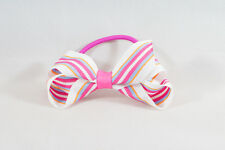 Unit of 10 Medium 3 Inch Pink/White Stripe Hair Bows on elastics Grosgrain