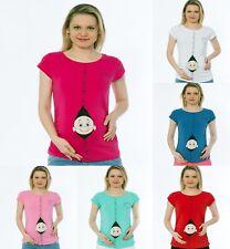 Umstandsmode Schwangerschaft -Mutterschafts_T-Shirt mit Süßen Druck ShowerBVK7