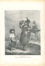 La Régalade du Grognard par Hippolyte Bellangé Peintre GRAVURE OLD PRINT 1914