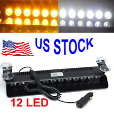 US AMBER WHITE 12 LED Auto Windshield Strobe Light Emergency Flash Warning Lamps
