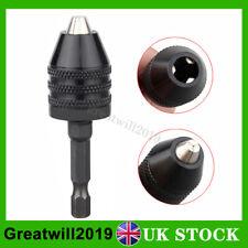 "1/4"" Keyless 3 Jaw Drill Chuck Bit Hex Converter Adapter Quick Change 0.5-8mm UK"