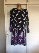Fab Navy Blue Tunic Dress Sky Blue White Leaves Turquoise Purple Paisley 20-22