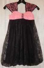 NWT Haven Girl Black Lace Pink Bubble Chloe Party Dress Sequin Girls Size 6