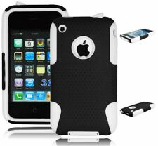 Hybrid Black Mesh Hard Case + White Silicone Cover for iPhone 3, 3G, 3S, 3GS