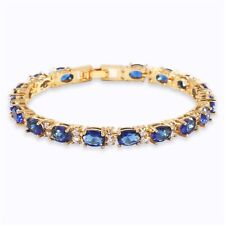 24K Yellow Gold Filled Oval Blue Sapphire White Topaz Tennis Bracelet 6.7""