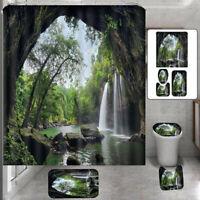 Waterfall Landscape Bathroom Shower Curtain Non-Slip Carpet Set Toilet Cover Mat