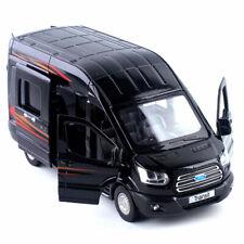1/35 Ford Transit MPV Model Car Diecast Gift Toy Vehicle Kids Sound Light Black