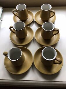 Vintage Denby ODE Coffee Cups And Saucers mustard Set Of Six